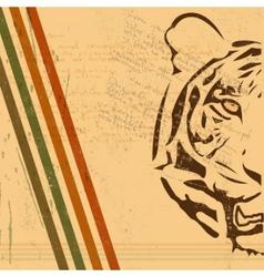 Vintage tiger background vector