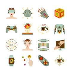 Virtual reality and gadgets icons set vector