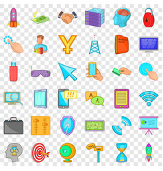 web site icons set cartoon style vector image