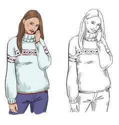 Winter look a woman in warm sweater posing vector