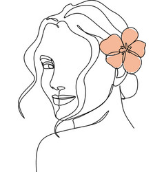 Woman line drawing butterfly prints female face vector