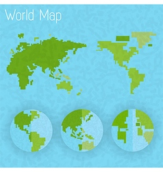 World map 8 bit air and compass vector