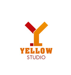 y letter icon for yellow studio vector image