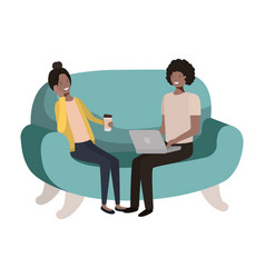 young couple using laptop in sofa avatar vector image