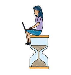 young woman working with laptop in hourglass vector image