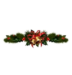 Christmas decorations with fir tree vector image