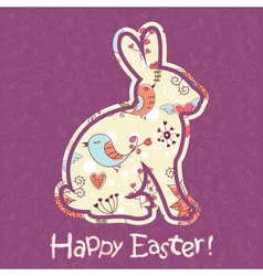Easter bunny cute floral card vector image