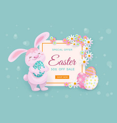 easter sale banner with bunny eggs and flowers vector image