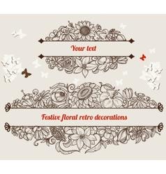 Festive retro floral frames vector image vector image