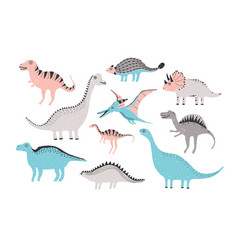 funny dinosaurs collection cute childish vector image