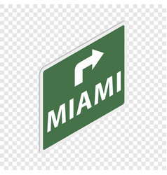 road sign with miami isometric icon vector image vector image