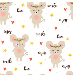 seamless pattern with cute cartoon little mouse vector image vector image