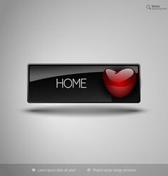 Black business button with red heart design vector image vector image