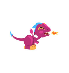 funny fire-breathing dragon with long tail short vector image