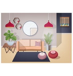interior of living room furnished with stylish vector image