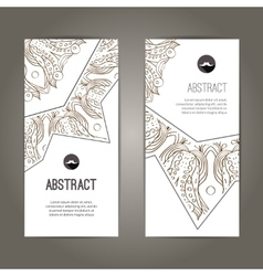 Set of banners with doodles round pattern design vector image