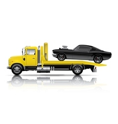 yellow truck towing black muscle car vector image vector image
