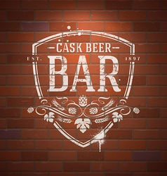 Bar sign painted with white paint on brick wall vector image vector image