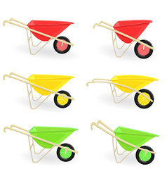 collection of different colored wheelbarrows vector image vector image