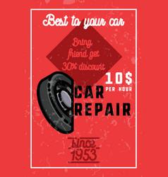 color vintage car repair banner vector image vector image