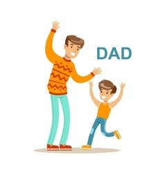 Dad Playing With His Son Happy Family Having Good vector image vector image