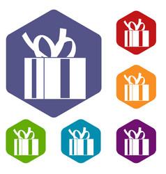 gift box with ribbon icons set vector image