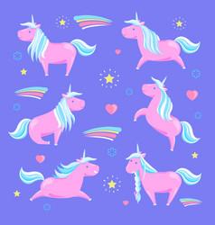 pink unicorn and rainbow vector image