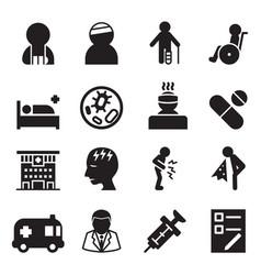 sick injury icons set vector image