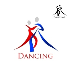 Sports emblem with dancing people silhouettes vector image vector image