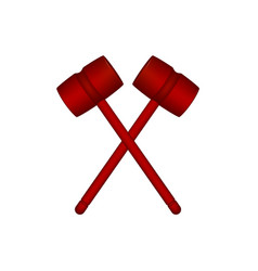two crossed wooden mallets in red design vector image vector image