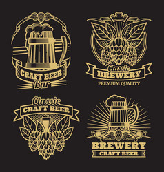 vintage craft classic beer labels on black vector image vector image
