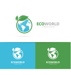 a earth and leaf logo combination vector image