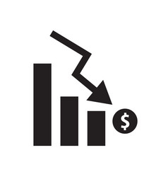 chart with bars with bars declining chart icon vector image
