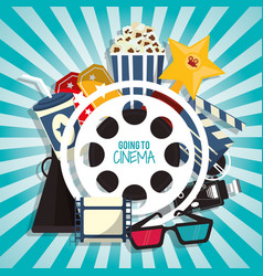 cinema movie concept with pop corn soda glasses vector image vector image