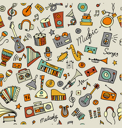music instruments sketch seamless pattern for vector image vector image