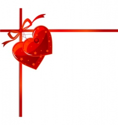 red ribbon and hearts vector image vector image