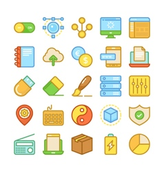 Web Design and Development Colored Icons 5 vector image vector image