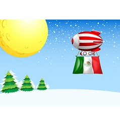 A floating balloon flying with the flag of Mexico vector