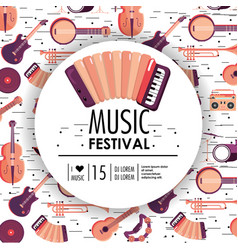 Acourdion and instruments to music festival event vector