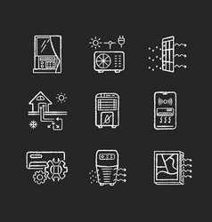 Air conditioning technologies chalk white icons vector