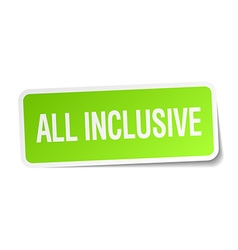 All inclusive green square sticker on white vector