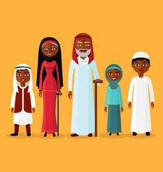 arab grandson granddaughter grandmother vector image