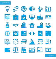 banking and financial blue icons set style vector image