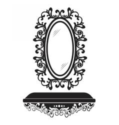 Baroque rococo mirror frame decor vector