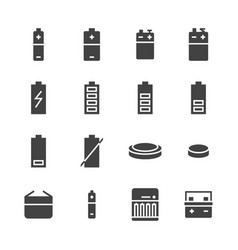 battery flat glyph icons batteries varieties vector image
