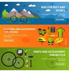 Bicycles accessories banners Sport concept vector image