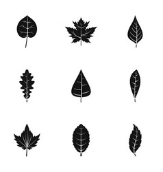 Black leaf icons set simple style vector