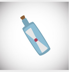 Bottle with wish letter on white background vector
