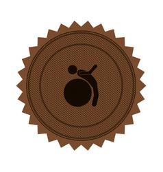 Brown circular seal with training in gym ball vector