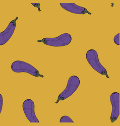 calligraphy eggplant colour yellow pattern vector image